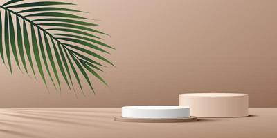 moderno pódio de pedestal em cilindro branco e bege com folha de palmeira verde. plataforma geométrica. cena de parede mínima de cor marrom claro abstrato. renderização do vetor forma 3d, apresentação de exibição do produto.