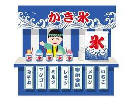 barraca de gelo rapado japonesa com menus isolados em um fundo branco vetor