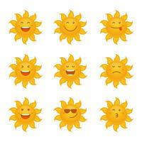 Sun Clipart Emoticon Set Coleção De Vetores