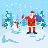 Papai Noel com conceito de ilustração vetorial de boneco de neve vetor