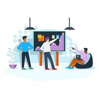 planejamento de trabalho de escritório com conceito de ilustração de empregadores vetor