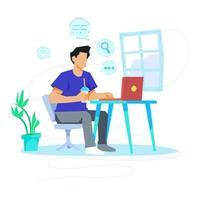 homem pesquisando ilustração do conceito de computador vetor