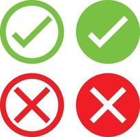 um conjunto de ícones verdes e x vermelhos que representam aprovado aceito, concordado, válido, confirmado, visto, acesso negado, falhou, errado vetor