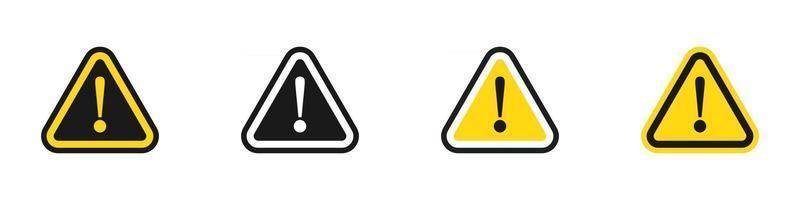 conjunto de ícones de aviso de ponto de exclamação vetor