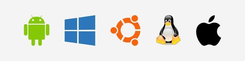 ícones de sistemas operacionais linux windows android mac ios icons vetor