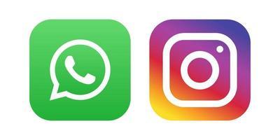 conjunto de ícones de cores de mídia social do WhatsApp Instagram vetor