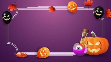 modelo de halloween para suas artes. modelo roxo com moldura para texto, folhas de outono, balões de halloween, jack de abóbora e poção de bruxa vetor