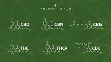 fórmulas químicas de canabinóides naturais em fundo verde com folhas de cannabis vetor