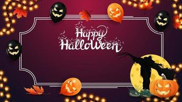 modelo de halloween para suas artes. modelo rosa com moldura para texto, folhas de outono, balões de halloween, guirlanda, espantalho e macaco de abóbora contra a lua vetor