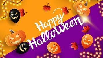 feliz dia das bruxas, cartão postal de saudação com balões de halloween, folhas de outono e festão. vista do topo vetor