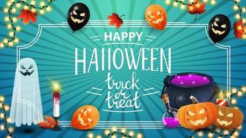feliz dia das bruxas, doce ou travessura. cartão postal de saudação criativa azul com folhas de outono, balões de halloween, guirlanda, fantasma, caldeirão de bruxa e jack abóbora vetor