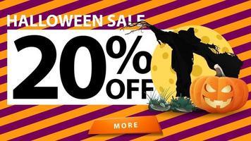 liquidação de halloween, desconto de até 20, banner de desconto com textura de halloween, espantalho e jack de abóbora contra a lua vetor