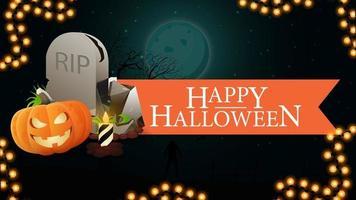 feliz dia das bruxas, banner de saudação com fita, paisagem de halloween no fundo, lápide e jack de abóbora vetor
