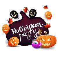 festa de halloween, banner branco de convite com uma enorme abóbora esculpida em papel, balões de halloween, folhas de outono, jack de abóbora e poção de bruxa vetor
