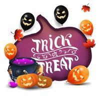 Doçura ou travessura, cartão branco com uma enorme abóbora esculpida em papel, balões de halloween, folhas de outono, caldeirão de bruxa e jack de abóbora vetor