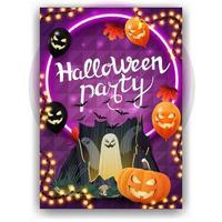 festa de halloween, pôster de convite vertical com design brilhante, balões de halloween, folhas de outono, portal com fantasmas e jack de abóbora vetor