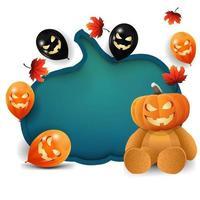modelo branco de halloween com uma enorme abóbora esculpida em papel, balões de halloween, folhas de outono e ursinho de pelúcia com cabeça de abóbora vetor