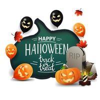 feliz dia das bruxas, doce ou travessura, cartão branco com uma enorme abóbora esculpida em papel, balões de halloween, folhas de outono, lápide e jack de abóbora vetor