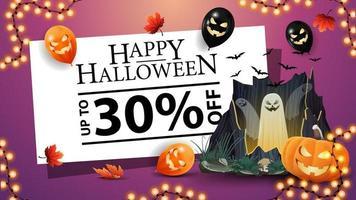 liquidação de halloween, até 30 de desconto, banner de desconto rosa com portal com fantasmas, guirlanda. balões de halloween e jack de abóbora vetor