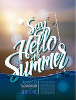 Olá inscrição de cartaz de verão em uma imagem de paisagem de fundo