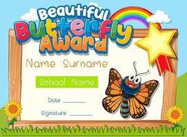 modelo de certificado com prêmio de linda borboleta vetor