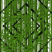 Padrão sem emenda com plantas tropicais de bambu com folhas e padrões geométricos