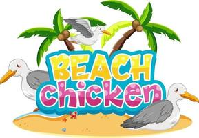 personagem de desenho animado de pássaro gaivota com banner de fonte de frango de praia isolado vetor