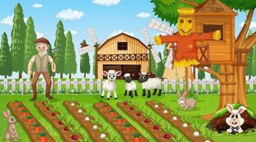 Cena de fazenda durante o dia com o velho fazendeiro e animais fofos vetor