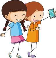 personagem de desenho animado de duas meninas tirando uma selfie na mão desenhada estilo doodle isolado vetor