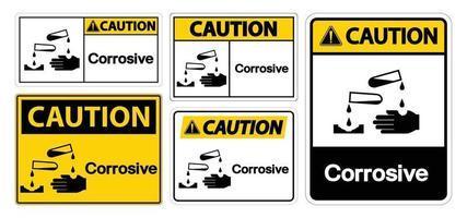 sinal de símbolo corrosivo de advertência isolado em fundo branco, ilustração vetorial eps.10 vetor