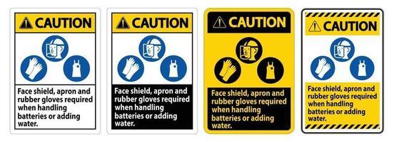 sinal de cuidado protetor facial, avental e luvas de borracha necessárias ao manusear baterias ou adicionar água com símbolos de EPP vetor
