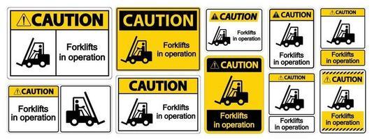 cautela empilhadeiras em sinal de símbolo de operação isolar em fundo transparente, ilustração vetorial vetor