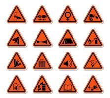 rótulos de símbolos de perigo de aviso triangular assinar isolar no fundo branco, ilustração vetorial vetor