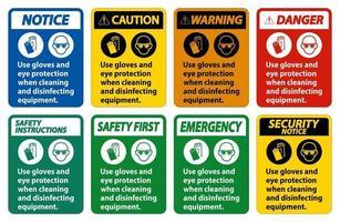 use luvas e sinal de proteção para os olhos em fundo branco vetor