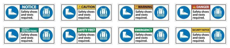 sapatos de segurança e colete necessários com símbolos ppe em fundo branco, ilustração vetorial vetor