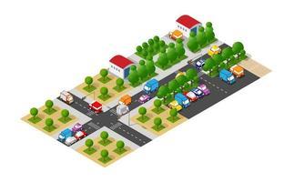 cidade isométrica com estradas com ruas vetor