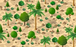 floresta deserto padrão sem costura fundo árvores deserto isométrica repetindo paisagem natural vetor