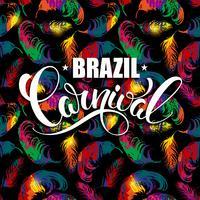 Projeto de rotulação do carnaval de Brasil em um fundo brilhante com penas abstratas.