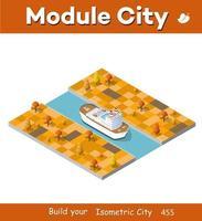 isométrico navio turístico forro da ilustração industrial 3D vetor