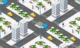 cidade isométrica com estradas com casas de ruas e ilustração de infraestrutura urbana. vetor