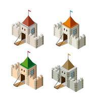 uma vista em perspectiva isométrica de uma fortaleza medieval em um fundo branco vetor