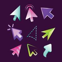 conjunto de modelos de ícones de cursor do mouse vetor