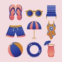 conjunto de modelos de ícones de natação vetor