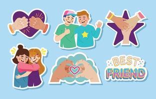 conjunto de adesivos do dia da amizade vetor