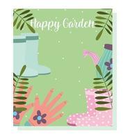 jardinagem, regador botas de borracha folhagem folhas cartão vetor