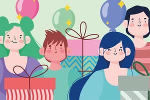 jovens grupo pessoas caixas de presente e balões celebração festiva vetor