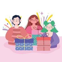 desenho animado homem e mulher com celebração de caixas de presente vetor