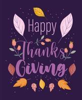 feliz ação de graças texto desenhado à mão e folhas de outono natureza vetor
