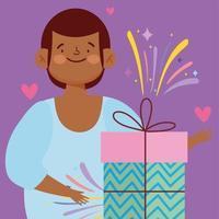 menino com caixa de presente embrulhada desenho animado vetor