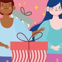 desenho animado feliz homem e mulher caixas de presente vetor